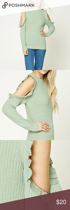 Open shoulder sweater A ribbed knit sweater with an open shoulder design, ruffled trim, round neckline and long sleeves. Forever 21 Sweaters