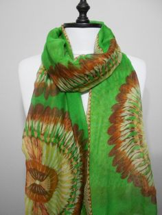 boho scarf #feather #green #festival