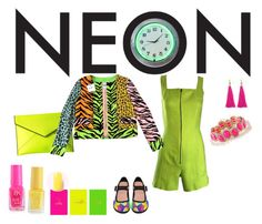 """""""Neon"""" by chauert ❤ liked on Polyvore featuring Moon and Lola, Francesca's, Rebecca Minkoff, Eccolo, Claude Montana, Moschino Cheap & Chic and neon"""