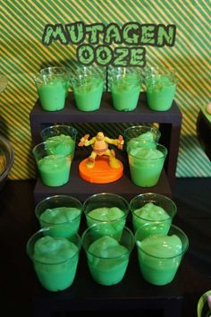 "Green pudding ""Mutagen Ooze"" at a Teenage Mutant Ninja Turtles birthday party!"