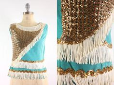 Hannah Mom 50s Turquoise Sequin Blouse . Marching Band Circus . XS