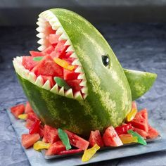 Shark Fruit Salad by Spoonful and other great themed fruit tray ideas