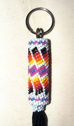 "Beaded Keyring Native American Made Peyote Stitch on Black leather 8"" CE-7 Peyote stitch style beadwork around a leather wrapped wooden dowel.  Native American made.  New.  One of a kind!  #beadwork #nativeamerican #keychain"