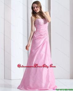 Exclusive Baby Pink Sweetheart 2015 Dama Dress with Beading and Ruching
