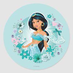 Shop Jasmine - Princess Jasmine Classic Round Sticker created by DisneyPrincess. Princesa Disney Jasmine, Disney Princess Jasmine, 1st Birthday Princess, Princess Theme, Disney Fan Art, Disney Pixar, Disney Facts, Disney Movies, Disney Characters