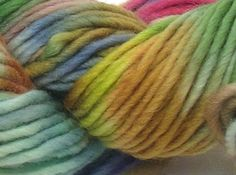 "littledogdesigns on Etsy. ""Tonks"" hand-dyed wool/mohair single-ply bulky ""buddy"" yarn."