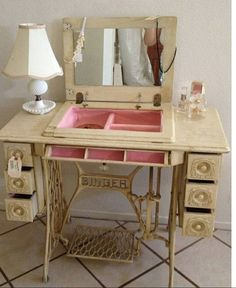 Omgoodness! for my moms singer--- Sewing desk into a jewelry box  vanity table DIY!