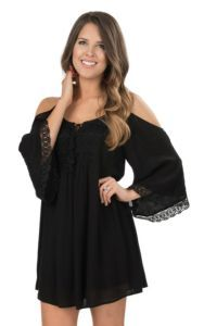 Flying Tomato Women's Black with Crochet Detailing Cold Shoulder 3/4 Bell Sleeve Dress | Cavender's