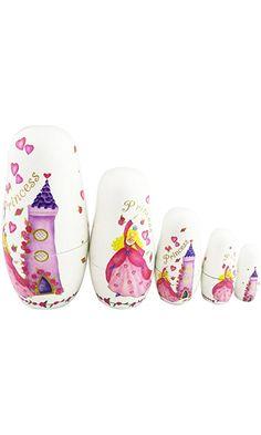 Winterworm Set of 5 Cutie Lovely Pink Princess Castle Nesting Dolls Matryoshka Madness Russian Doll Popular Handmade Kids Girl Gifts Toy Best Price