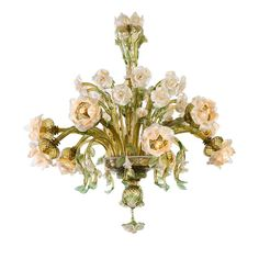 Made by master glass blower Alberto Striulli on the island of Murano in Venice, the Roseto chandelier is one of his signature styles. With 10 lights peering. Blown Glass Chandelier, Flower Chandelier, Murano Chandelier, Italian Chandelier, Chandelier Pendant Lights, Flower Lamp, Country Chandelier, Flower Room, Luxury Chandelier