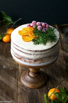 Tangerine Layer Cake With Tangerine Curd And Cream Cheese Frosting Recipe – decadent and festive cake, which is perfect for the holidays! - Tangerine Layer Cake With Tangerine Curd And Cream Cheese Frosting Recipe - Cooking LSL Christmas Cake Decorations, Holiday Cakes, Christmas Desserts, Christmas Cakes, Christmas Bread, Italian Christmas, Christmas Drinks, Food Cakes, Cupcake Cakes
