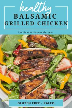 This Balsamic Grilled Chicken Recipe is perfect for summer grilling. Paleo, gluten free, and easy to make - you'll love this healthy marinade. This chicken is great on top of salads, in sandwiches or with a side of grilled vegetables! Balsamic Grilled Chicken, Balsamic Vinegar Chicken, Grilled Chicken Recipes, Heart Healthy Chicken Recipes, Paleo Recipes, Lunch Recipes, Healthy Grilling, Grilling Recipes, Healthy Meals