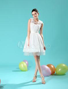 Ivory A-line Jewel Neck Flower Beading Chiffon Bridal Wedding Dress -No.1