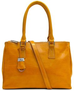 Roma Satchel comes in Vecchio Brown, Yellow, Tuscan Red, and Black Floto  Italian calfskin leather. Floto Leather Bags 327c3a55ba