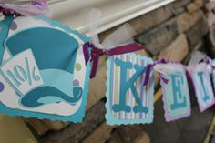 Alice In Wonderland Birthday Party - Name and Age Banner - Mad Hatter Name Banner - Tea party Name Banner on Etsy, $32.00