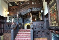 Crewe hall oak carved staircase. Jacobean style fine woodwork.