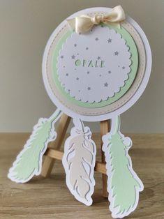 Faire part de naissance ou de baptême Dreamcatcher Attrape rêves vert pomme et crème, modèle 3 plumes