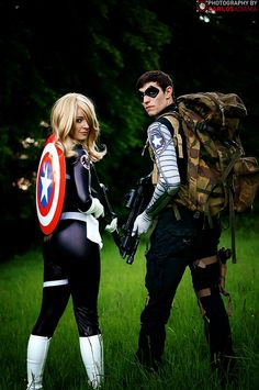 Winter Soldier (Leigh John Stevens) & Sharon Carter/Agent 13 (SootyDragon Cosplay)