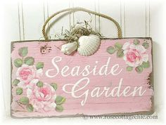 shabby chic roses on wall plaque.