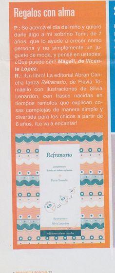 """La revista de Argentina """"Psicología +"""" recomienda """"Refranario"""", ed. Abran Cancha."""