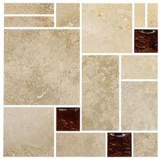 "Travertine Brown Glass Mosaic Kitchen Backsplash Tile, 12""x12"" Sheet - traditional - Tile - Backsplash"