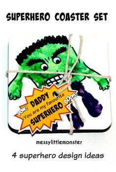 Messy Little Monster: Superhero handprint coaster set
