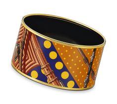 Clic Clac à Pois  Extra-wide bracelet in enamel, Doré theme, gold-plated (diameter: 7 cm)