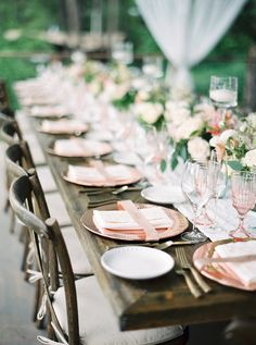 wedding tablescapes - photo by Rebecca Hollis http://ruffledblog.com/an-intimate-montana-wedding-awash-in-pink