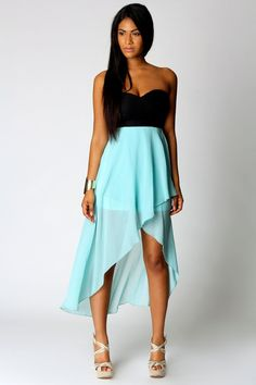 High-low black and light blue dress.