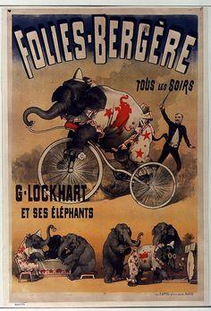 19th cent. french music-hall poster - an elephant act.  Olies-Bergère, tous les soirs G. Lockart et ses éléphants. Artist: F Appel (lithographer) Date: 1890