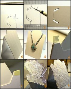 Tutorial for cardboard necklace stands  http://www.flickr.com/photos/kotomi-jewelry/4119924291/in/set-72157608157754111  Thank you kotomi-jewelry!