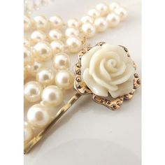 Sara Attali Amazing Vintage Style Hair Clip ($27) ❤ liked on Polyvore featuring accessories, hair accessories, cream, flower hair accessories, flower hair clip, barrette hair clips, metal hair clips and metal hair accessories