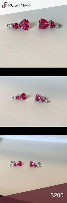 Ladies Art Deco Design 925 Sterling Silver Ruby /& White Sapphire Hoop Earrings