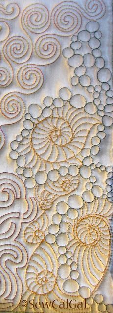 !Insights From SewCalGal: 2012 Free-Motion Quilting Challenge - October - Teri Lucas  Makes me think of the ocean.  I will have to remember this for the next nautical quilt I make.