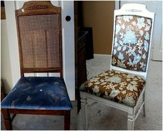cinderella chair before and after: need to do this to the rattan rocking chair from the garage sale.