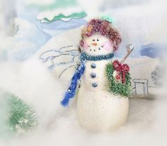 CIJ Snowman Ornament Snowman with Wreath by CharlotteStyle on Etsy