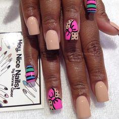Bows & color block nails for @missbritt247 #nailart  (Taken with Instagram)