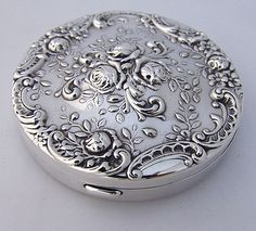 Floral Rose Compact Gorham 325 Sterling Silver 1950 from berrycom-com on Ruby Lane