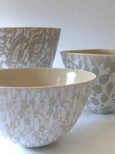 Taupe and white earthenware lace bowls. Sandy Godwin.