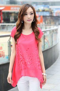 Beautiful Korean Style Loose Hollow Round Neckline T-Shirt Short Sleeve T-shirts