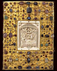 The cover of the gospels of Otto III, 12th century. The ivory panel was imported from Byzantium.
