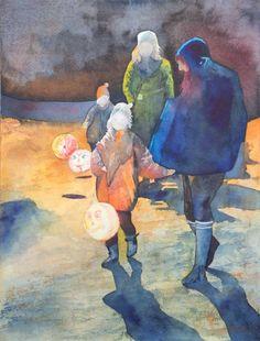 Aquarelle mit Laternenkinder in der Zeitschrift Palette & Zeichenstift | … hier unten leuchten wir (c) Aquarell von Frank Koebsch