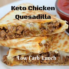 Low carb chicken quesadillas are super quick and easy to make! To make my keto chicken quesadillas, I only used four ingredients which consisted of both shredded cheese and liquid. Go and try this awesome chicken quesadillas recipe.