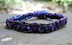 Black Purple and Blue Hemp Bracelet Plain by PeaceLoveNKnottyHemp, $5.00