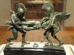 Sleep and Death Carrying off the Slain Sarpedon, 400-380 BCE, Etruscan, bronze (cista handle)