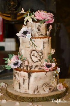 wooden wedding cake, log – Wedding – cake # wooden wedding cakes You are in the Country Wedding Cakes, Wedding Cake Rustic, Unique Wedding Cakes, Wedding Ideas, Fall Wedding Cakes, Rustic Cake, Bridal Shower Cakes Rustic, Discount Wedding Invitations, Log Cake