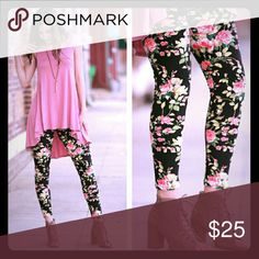 -PRICE DROP-NWT Leggings 92%Polyester 8%Spandex.  Floral print. One size but fits size 2-12 comfortably.  These are buttery soft and a must have for Spring! Boutique  Pants Leggings