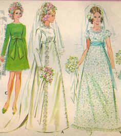 années 1960 McCall 9652 Vintage Sewing Pattern de la mariée jeune femme et robe de demoiselle d'honneur taille buste 16 38