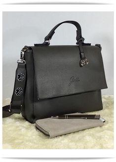 0c6c70c56db9e Glüxklee Handtasche mit Überschlag in dunkelgrau. Die elegante Tasche mit  breitem