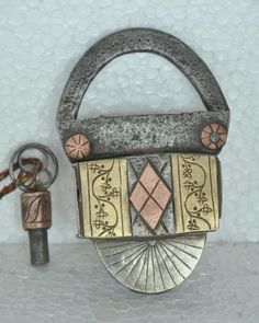 """A True Work Of Art 1930s Old Iron Handcrafted Brass & Copper Fitted Screw System Padlock  Beautifully Designed... Get it from our online store:  Singhalexportsjodhpur.Com and search for """"36051"""" in the search box  Use code EARLYBRD5 to get amazing discounts.  LALJI HANDICRAFTS - WORLDWIDE SHIPPING - EXCLUSIVE HANDICRAFTS  INDIAN DECOR INDUSTRIAL DECOR VINTAGE DECOR POP ART MOVIE POSTERS VINTAGE MEMORABILIA FRENCH REPLICA 